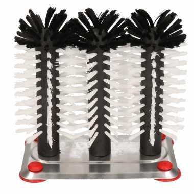 2x bierglasborstels/spoelborstels aluminium 3-delig 16 cm