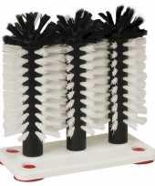 Bierglasborstel spoelborstel kunststof 3 delig 10 x 19 x 20 cm